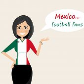 Mexico Football Fans.cheerful Soccer Fans, Sports Images.young Woman,pretty Girl Sign.happy Fans Are poster
