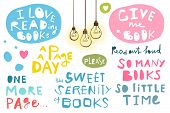 Literature Hobby Handwriting Signs Set For Design. Vector Illustration. poster