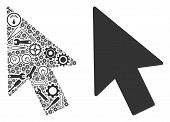 Mouse Cursor Mosaic Of Repair Instruments. Vector Mouse Cursor Icon Is Constructed Of Gears, Screwdr poster