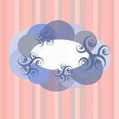 Frame clouds and swirls on the pink background with stripes