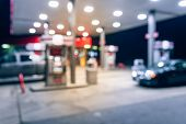 Abstract Blurred Gas Station With Car Refueling At Night poster