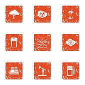 Technical Climate Icons Set. Grunge Set Of 9 Technical Climate Vector Icons For Web Isolated On Whit poster