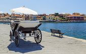 Horse Carriage For Transporting Tourists In Old Port Of Chania On Crete, Greece. Chania Is The Secon poster