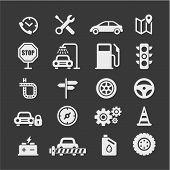 Automobile Flat Vector Icons Set. Car Flat Vector Icons Set. Car Service Flat Vector Icons Set. Auto poster