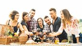 Young Friends Having Fun Outdoors Drinking Red Wine At Barbecue - Happy People Eating Healthy Food A poster
