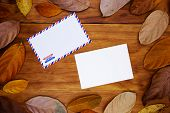 Blank Postcard And Envelope On Warm Wooden Background In Orange Leaf Frame. Empty Card In Autumn Sea poster