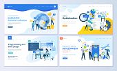 Set Of Web Page Design Templates For Seo, Mobile Apps, Business Solutions. Modern Vector Illustratio poster