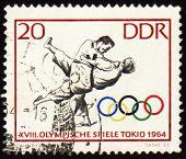 Sello de correos muestra Judo