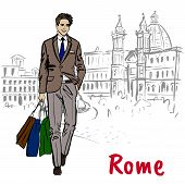 Fashion Sketch Of Young Man In Rome, Piazza Navona poster