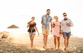Group Of Happy Friends Having Fun At Seaside Sunset - Summer Vacations And Friendship Concept With Y poster