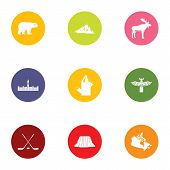 Canadian Edge Icons Set. Flat Set Of 9 Canadian Edge Vector Icons For Web Isolated On White Backgrou poster