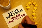 Conceptual Hand Writing Showing You Are What You Eat. You Are What You Love.. Business Photo Showcas poster