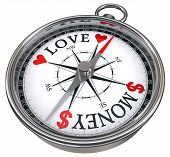 Love Versus Money Concept Compass