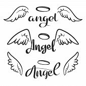 Doodle Flying Angel Wings With Halo. Sketch Angelic Wings. Freedom And Religious Tattoo Vector Desig poster