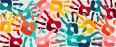 Human Hand Print Color Banner Background. Colorful Children Paint Handprints Illustration For Social poster