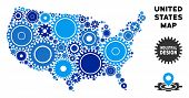Industrial Usa Map Collage Of Gears. Abstract Territory Scheme In Blue Color Tinges. Vector Usa Map  poster