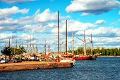 Helsinki, Finland. Port Of Helsinki, Finland During The Sunny Day With Boats And Yachts. Cloudy Blue poster