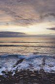 Sunlight Sunset On Horizon Ocean On Background Seascape Atmosphere Rays Sunrise. Relax View Waves Se poster