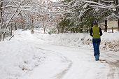 Walking On A Snowy Road
