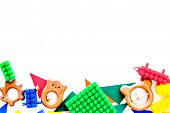 Educational Toys For Children Mockup. Plastic Lego Blocks And Clacks On White Background Top View. poster