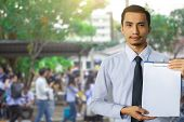 This Career Saleman Or Business Man Inspection Writing On Notepad Or  Book, Paper With Building And  poster