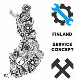 Service Finland Map Mosaic Of Tools. Abstract Territory Plan In Grey Color. Vector Finland Map Is Ma poster