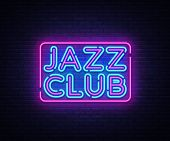Jazz Club Neon Sign Vector. Jazz Music Design Template Neon Sign, Light Banner, Neon Signboard, Nigh poster