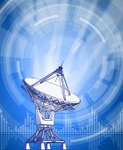 satellite dishes antenna - doppler radar, rays of light & blue radial technology background. Vector