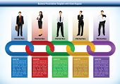 Business presentation template with interlinked colorful chain with each link representing a differe
