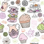Seamless high tea party cupcake coffee background pattern in vector