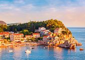 Picturesque Summer View Of Adriatic Sea Coast In Budva Riviera. Przno Village With Buildings On The  poster