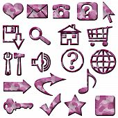 Pink White Camouflage Masculine Website Icons Buttons Navigation