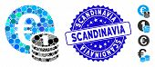Collage One Euro Coin Stack Icon And Grunge Stamp Seal With Scandinavia Caption. Mosaic Vector Is Fo poster