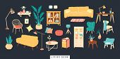 Bundle Of Cozy Furnitures Icons For Living, Lounge Rooms In Trendy Scandinavian Hygge Style. Design  poster
