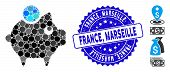 Mosaic Piggy Bank Icon And Corroded Stamp Seal With France, Marseille Phrase. Mosaic Vector Is Forme poster