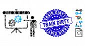 Mosaic International Banking Project Icon And Distressed Stamp Watermark With Train Dirty Caption. M poster