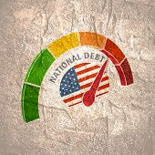 National Debt Meter Read High Level Of National Debt Result. Color Scale With Arrow From Green To Re poster