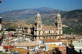 Elevated View Of The Cathedral With Olive Groves To The Rear, Jaen, Jaen Province, Andalucia, Spain, poster