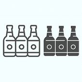 Bottles Line And Solid Icon. Three Empty Glass Bottles Vector Illustration Isolated On White. Beer B poster