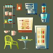 Cartoon Cafe Set - Coffee Machine, Cupboard With Utensil And Table. Elements For Cafeteria Interior. poster