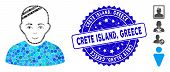 Mosaic Patient Icon And Rubber Stamp Seal With Crete Island, Greece Caption. Mosaic Vector Is Compos poster