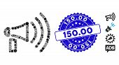 Mosaic Megaphone Icon And Corroded Stamp Seal With 150.00 Phrase. Mosaic Vector Is Composed With Meg poster