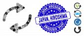 Mosaic Refresh Icon And Corroded Stamp Seal With Japan, Hiroshima Phrase. Mosaic Vector Is Designed  poster