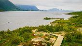 Fjord Landscape From Austnesfjorden Rest Area On Sildpollen Bay. Lofoten Islands Austvagoya, Norway. poster