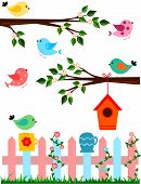 stock photo of bird fence  - Cartoon illustration of birds with fence and bird house - JPG