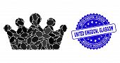Mosaic Crown Icon And Distressed Stamp Seal With United Kingdom, Glasgow Caption. Mosaic Vector Is C poster