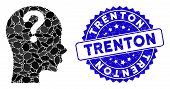 Mosaic Problem Icon And Distressed Stamp Seal With Trenton Phrase. Mosaic Vector Is Composed With Pr poster