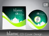 stock photo of masjid  - Islamic CD cover design with Mosque or Masjid - JPG