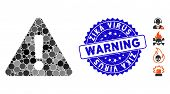 Mosaic Warning Icon And Rubber Stamp Seal With Zika Virus Warning Phrase. Mosaic Vector Is Formed Fr poster