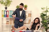 Maintaining Good Working Relationship. Couple Run Business Together. Working Couple In Office. Coupl poster